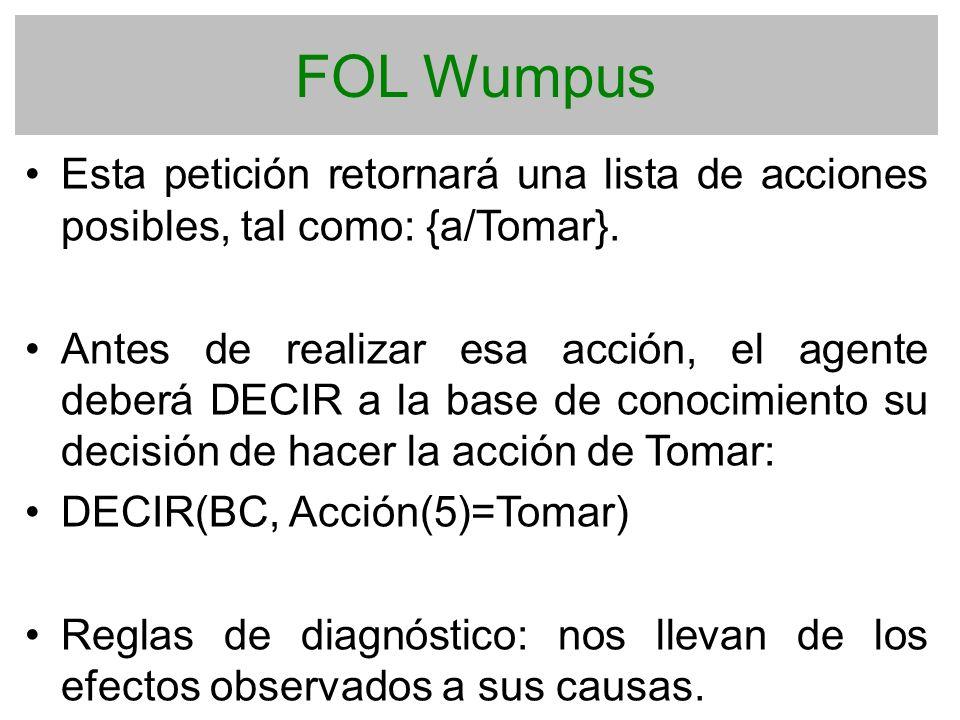 FOL Wumpus Esta petición retornará una lista de acciones posibles, tal como: {a/Tomar}.