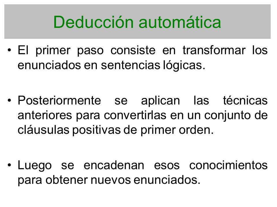 Deducción automática El primer paso consiste en transformar los enunciados en sentencias lógicas.