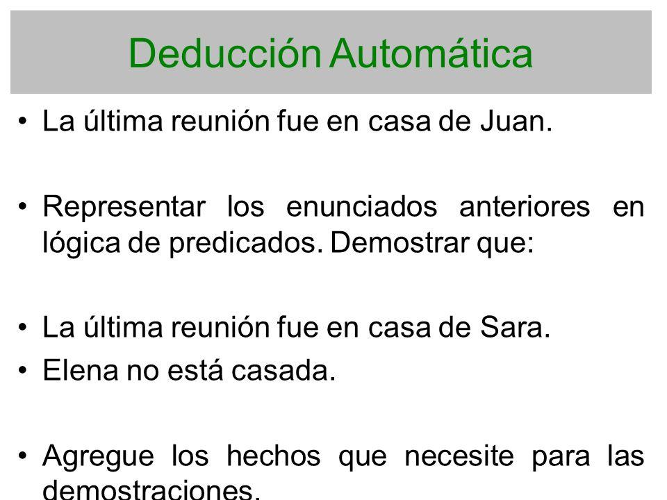 Deducción Automática La última reunión fue en casa de Juan.