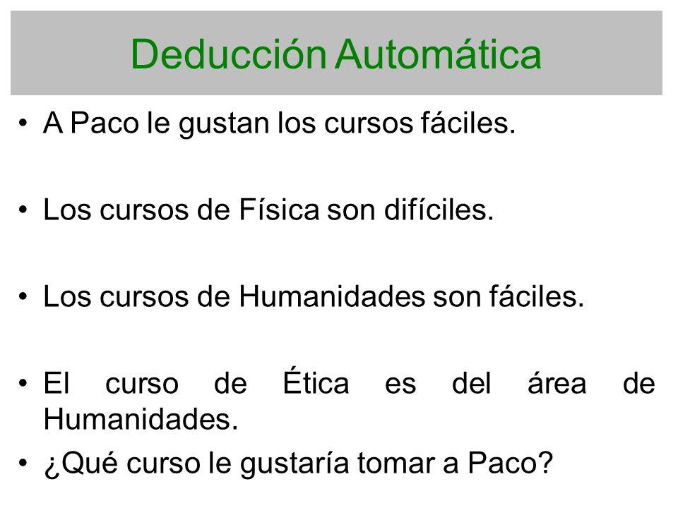 Deducción Automática A Paco le gustan los cursos fáciles.