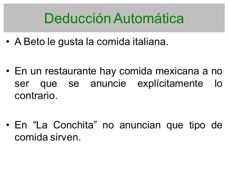 Deducción Automática A Beto le gusta la comida italiana.