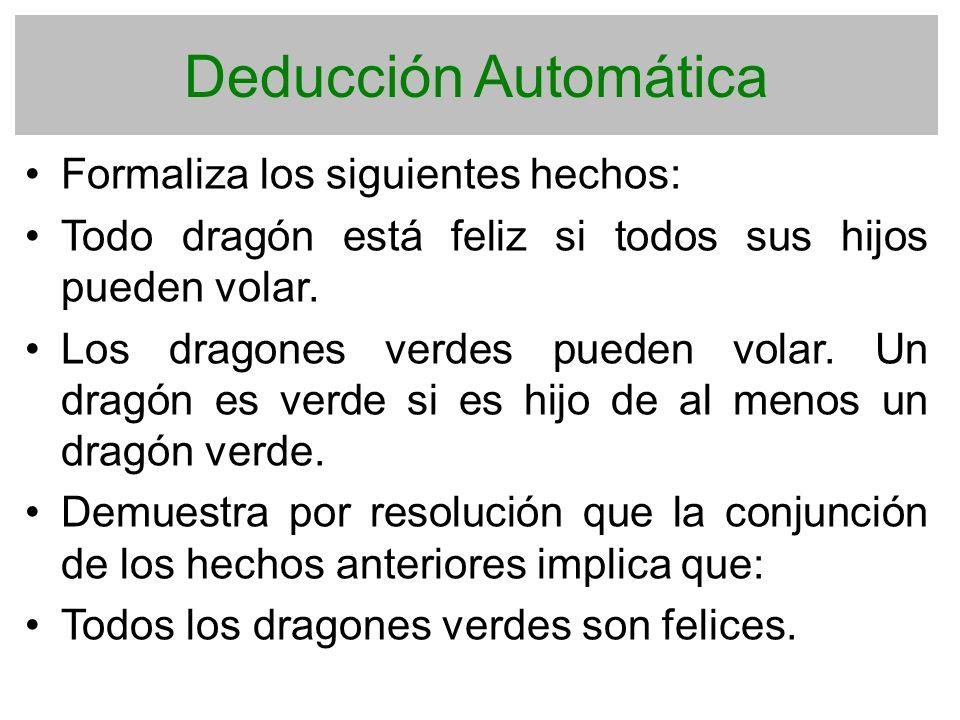 Deducción Automática Formaliza los siguientes hechos: