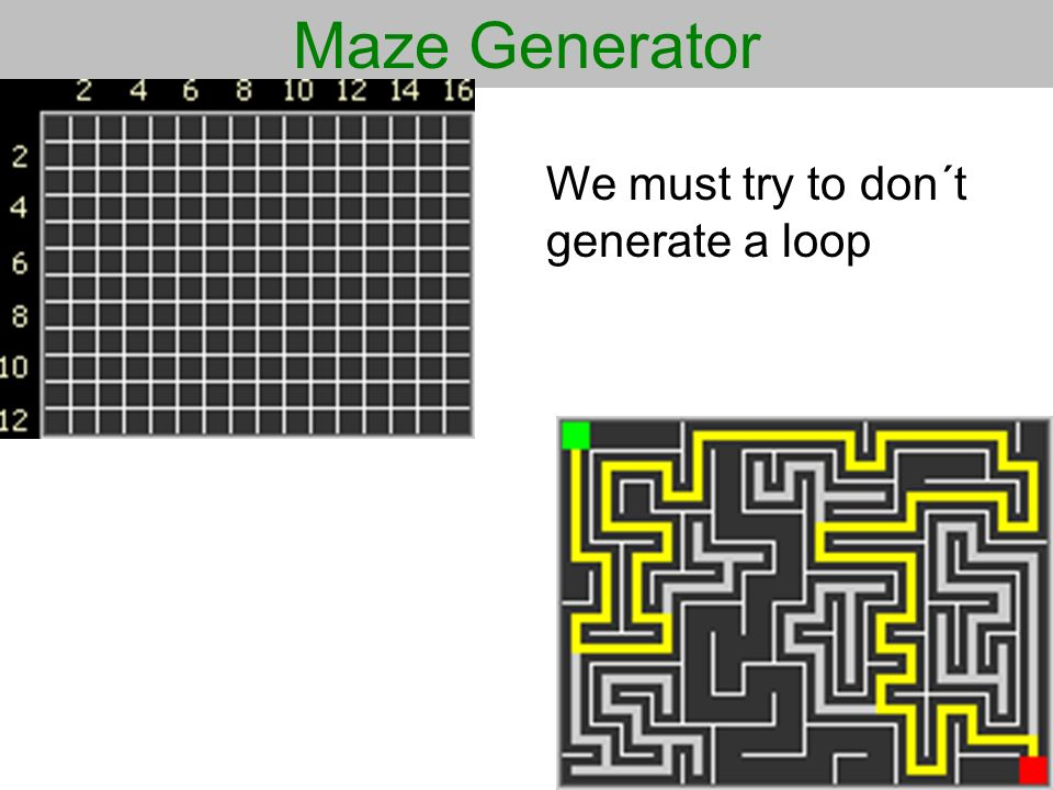 Maze Generator We must try to don´t generate a loop