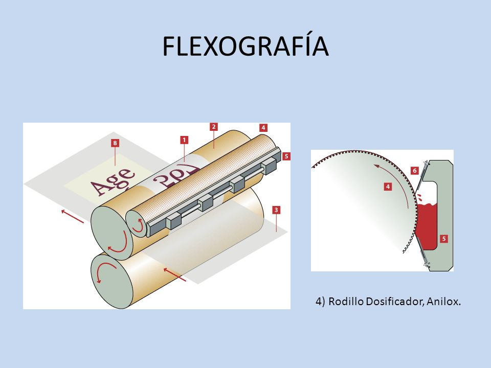 FLEXOGRAFÍA 4) Rodillo Dosificador, Anilox.