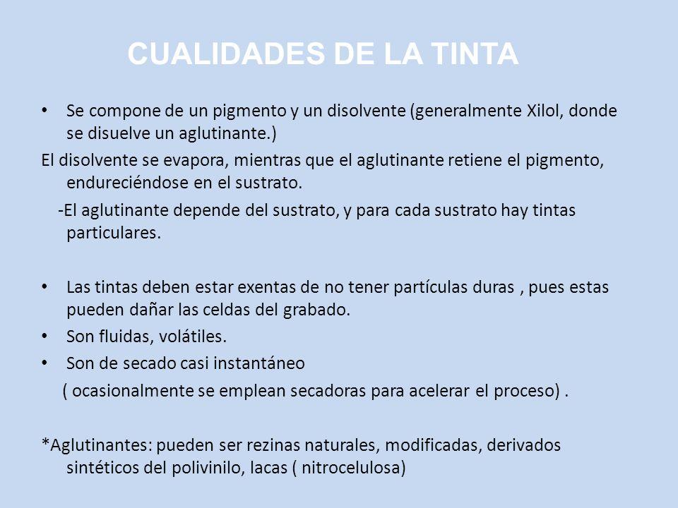 CUALIDADES DE LA TINTA Se compone de un pigmento y un disolvente (generalmente Xilol, donde se disuelve un aglutinante.)