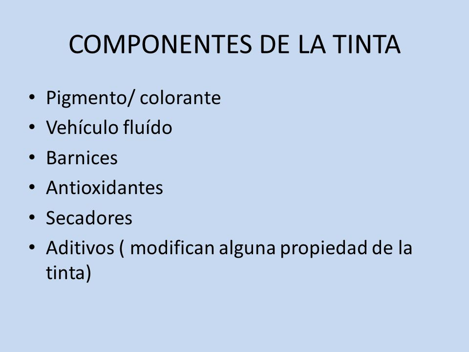 COMPONENTES DE LA TINTA