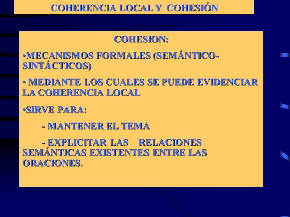 COHERENCIA LOCAL Y COHESIÓN