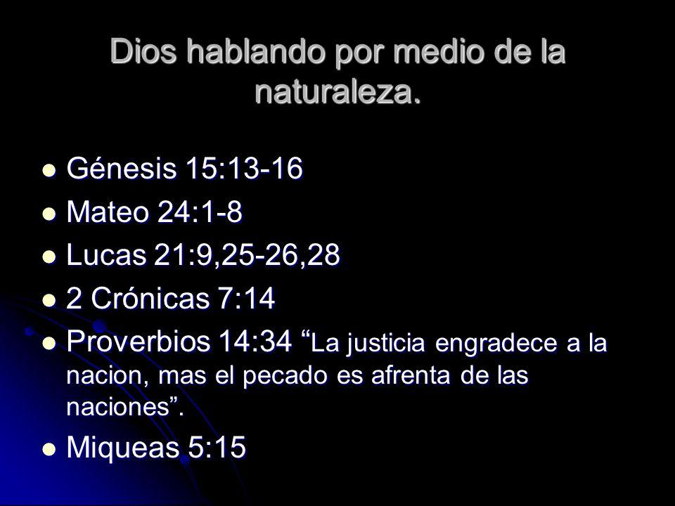 Dios hablando por medio de la naturaleza.