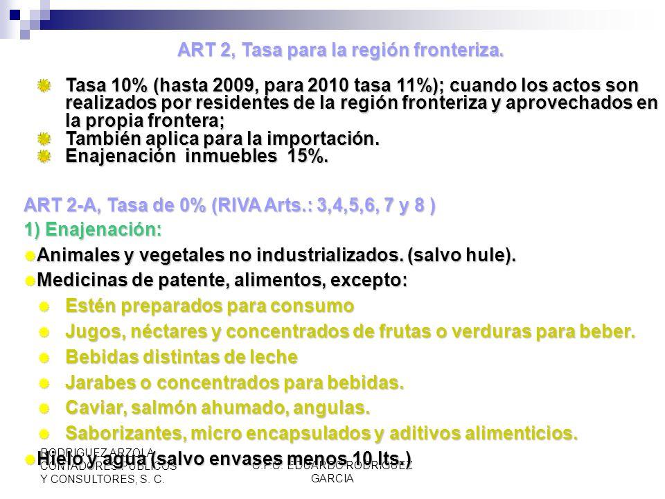 ART 2, Tasa para la región fronteriza.