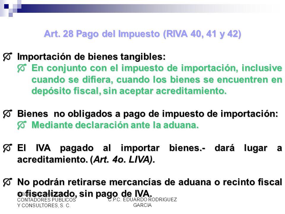 Art. 28 Pago del Impuesto (RIVA 40, 41 y 42)
