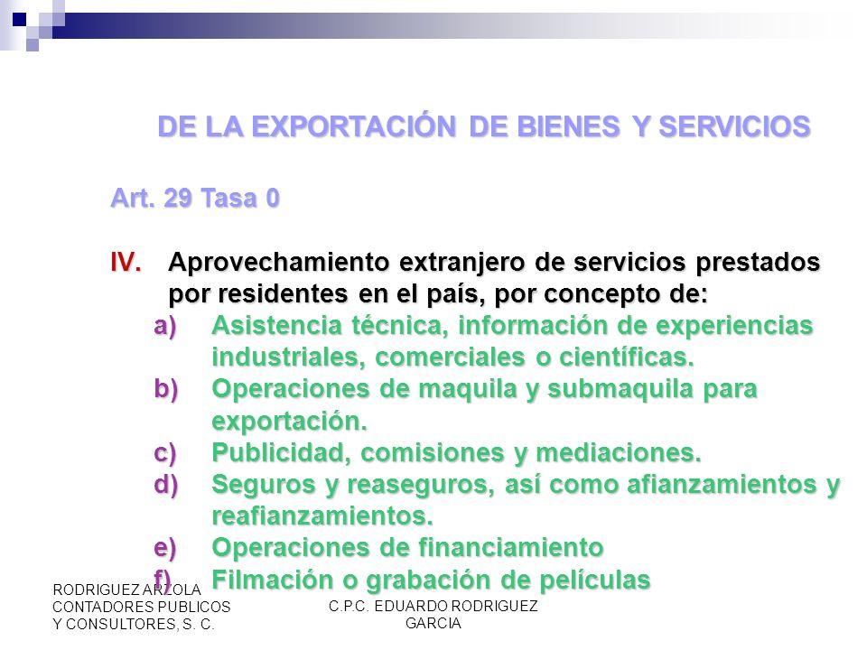 DE LA EXPORTACIÓN DE BIENES Y SERVICIOS