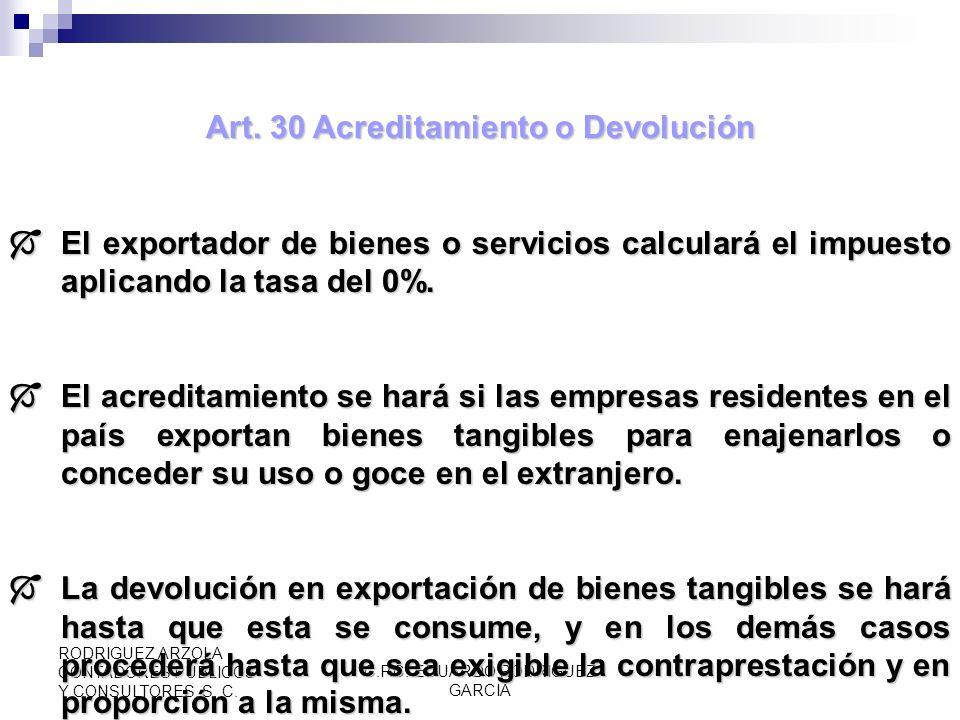 Art. 30 Acreditamiento o Devolución