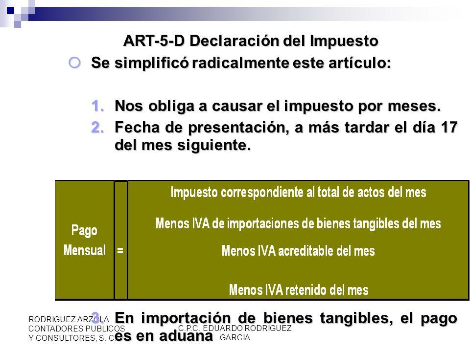 ART-5-D Declaración del Impuesto