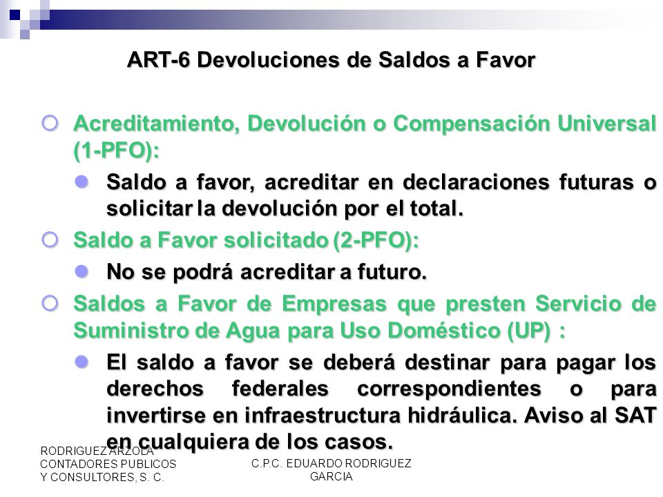 ART-6 Devoluciones de Saldos a Favor