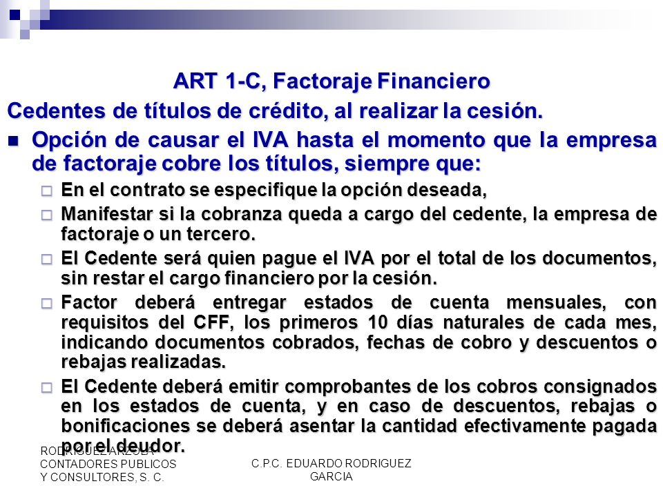 ART 1-C, Factoraje Financiero