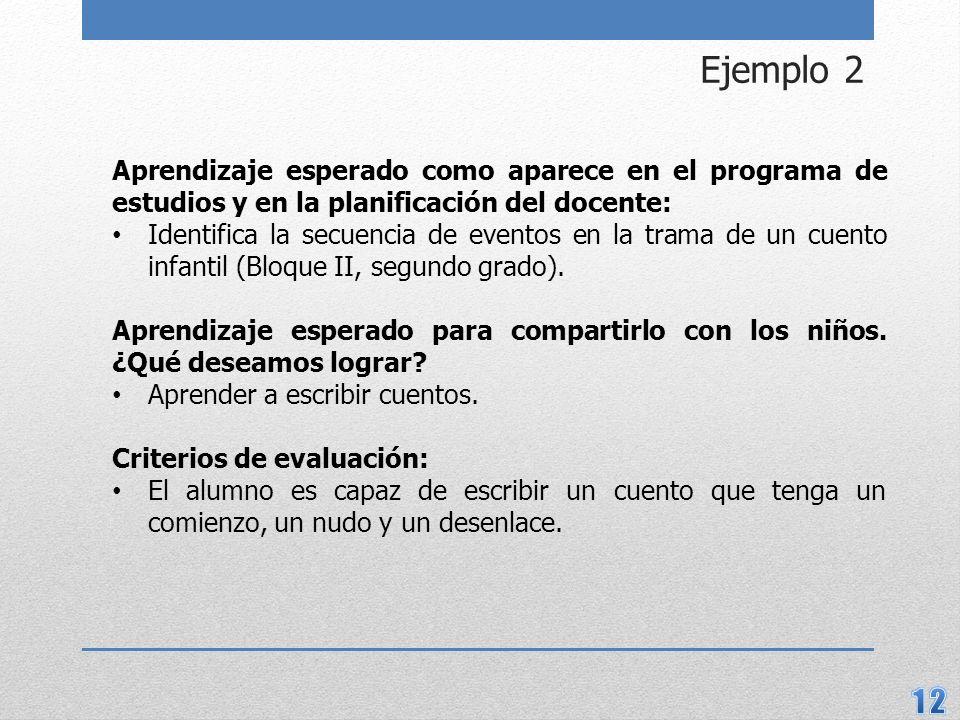 Ejemplo 2 Aprendizaje esperado como aparece en el programa de estudios y en la planificación del docente: