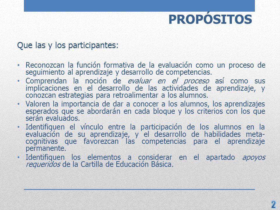 PROPÓSITOS Que las y los participantes: