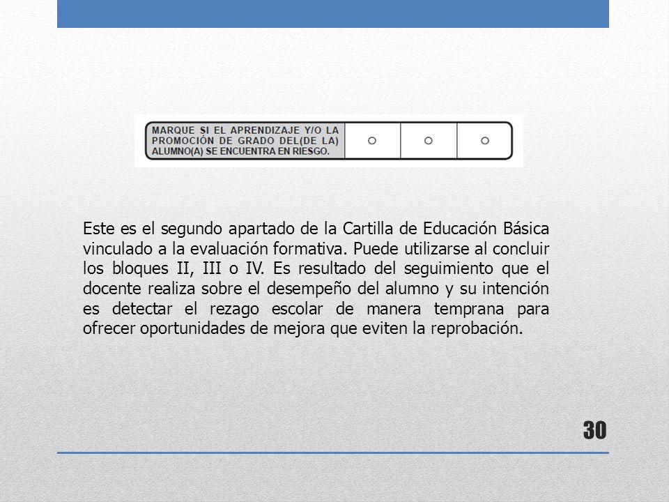 Este es el segundo apartado de la Cartilla de Educación Básica vinculado a la evaluación formativa.