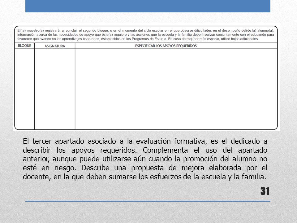 El tercer apartado asociado a la evaluación formativa, es el dedicado a describir los apoyos requeridos.