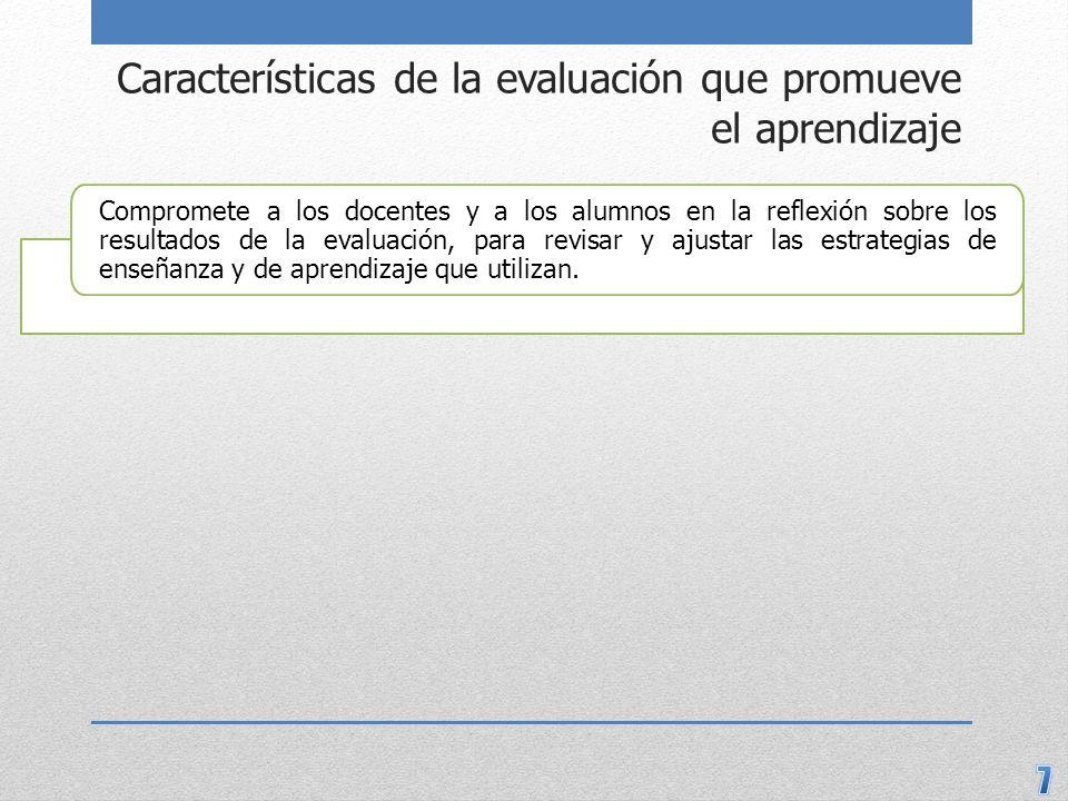 Características de la evaluación que promueve el aprendizaje