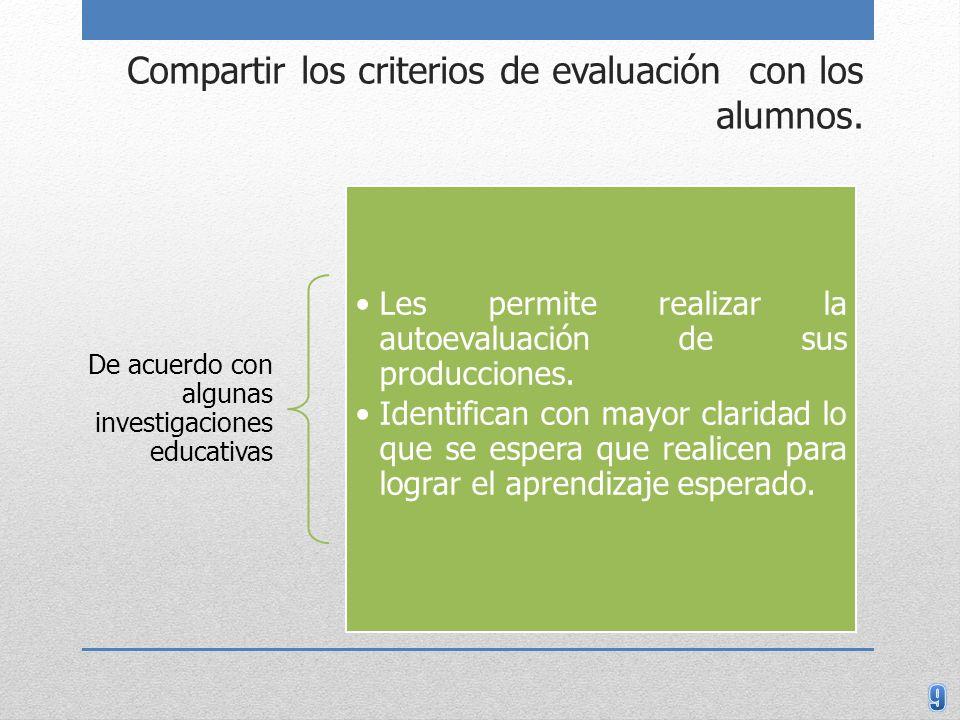 Compartir los criterios de evaluación con los alumnos.