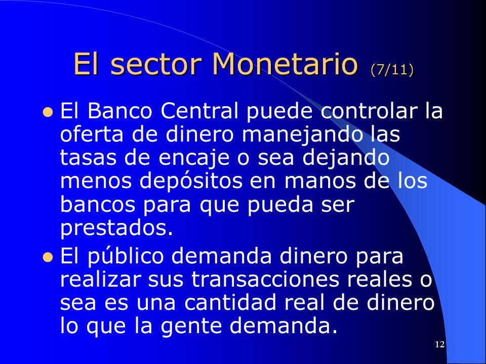 El sector Monetario (7/11)