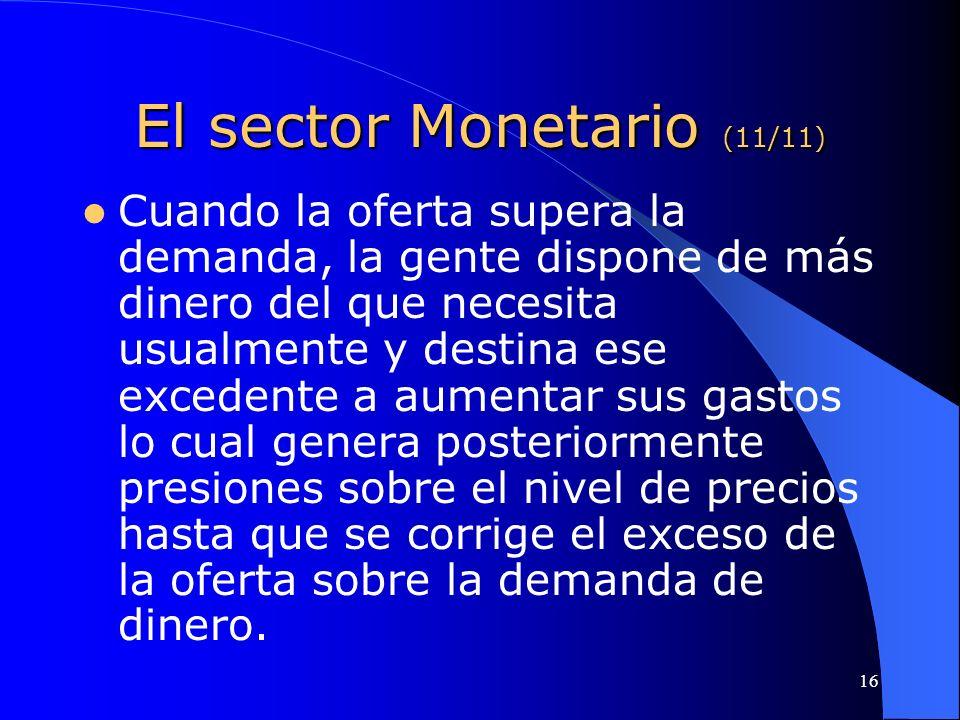 El sector Monetario (11/11)