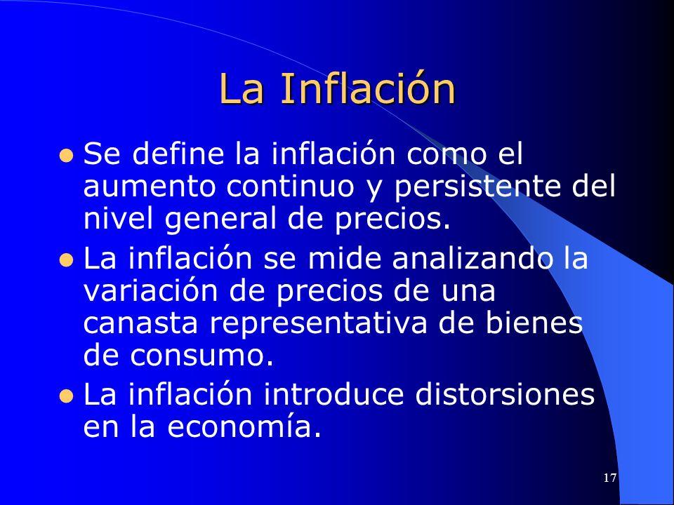 La Inflación Se define la inflación como el aumento continuo y persistente del nivel general de precios.