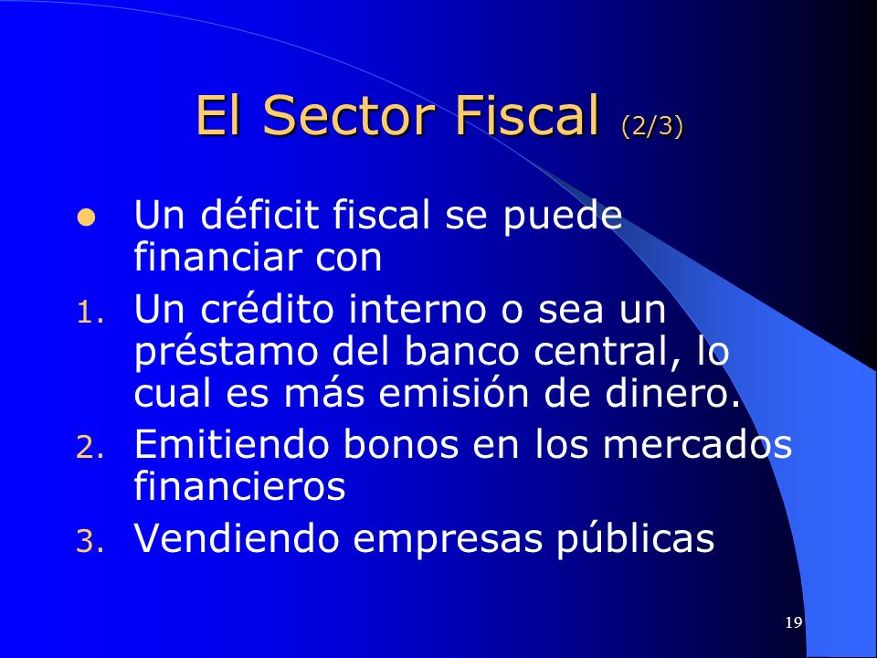 El Sector Fiscal (2/3) Un déficit fiscal se puede financiar con