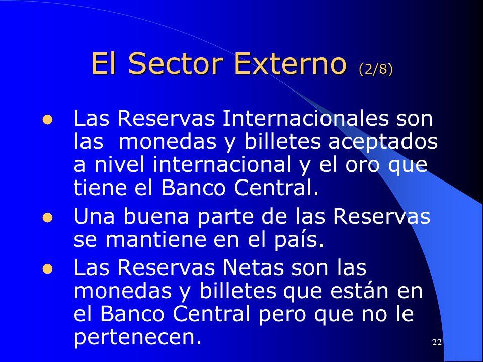 El Sector Externo (2/8) Las Reservas Internacionales son las monedas y billetes aceptados a nivel internacional y el oro que tiene el Banco Central.