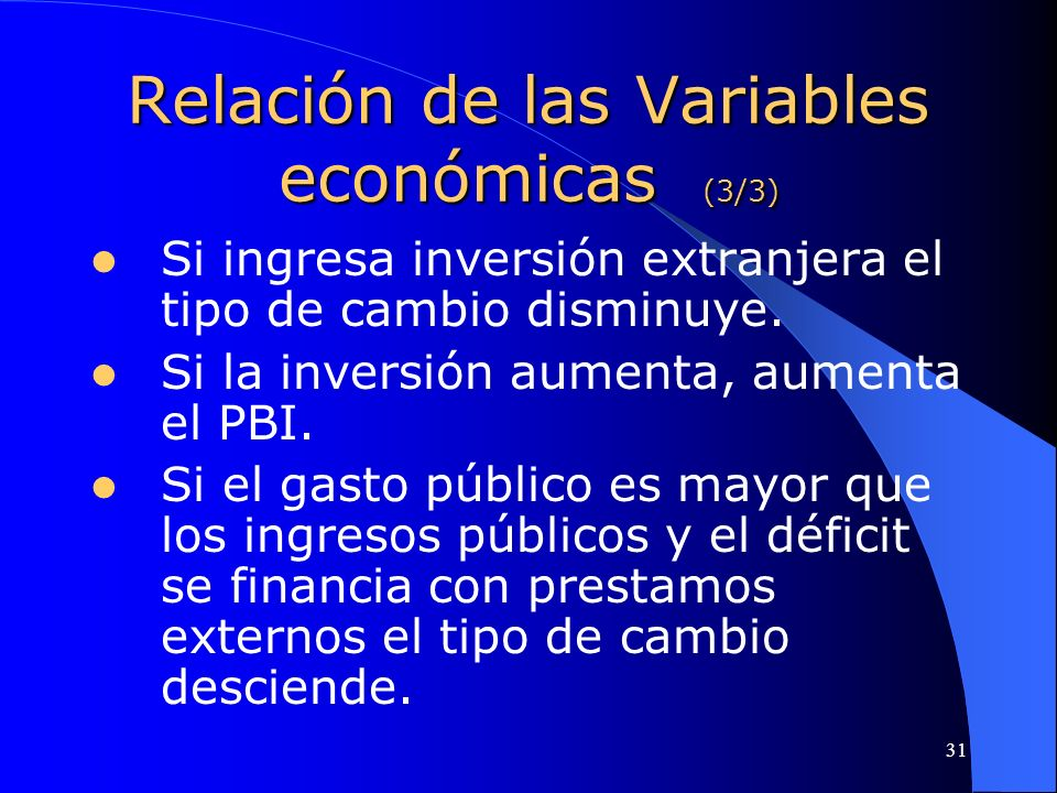 Relación de las Variables económicas (3/3)