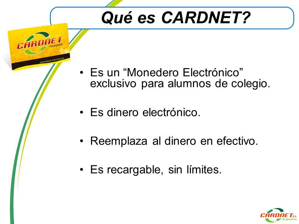Qué es CARDNET Es un Monedero Electrónico exclusivo para alumnos de colegio. Es dinero electrónico.
