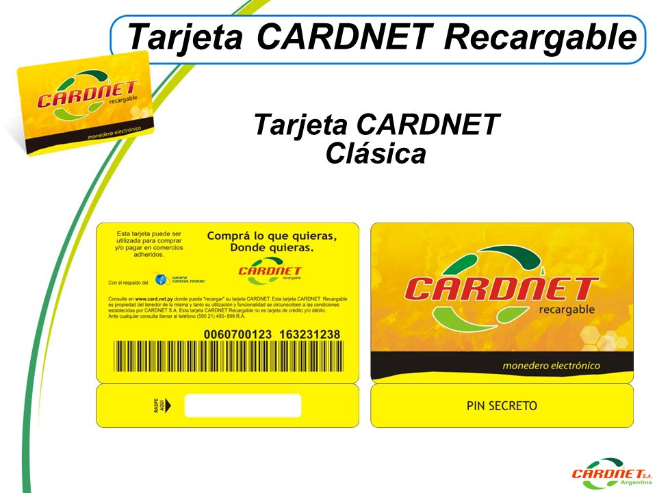 Tarjeta CARDNET Recargable