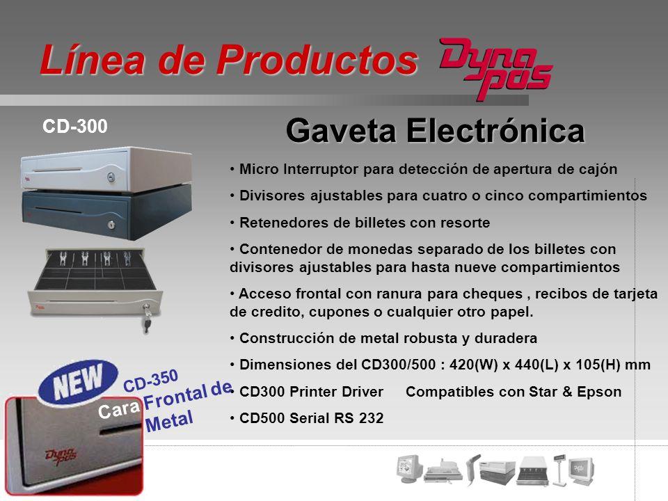 Línea de Productos Gaveta Electrónica CD-300 Cara Frontal de Metal