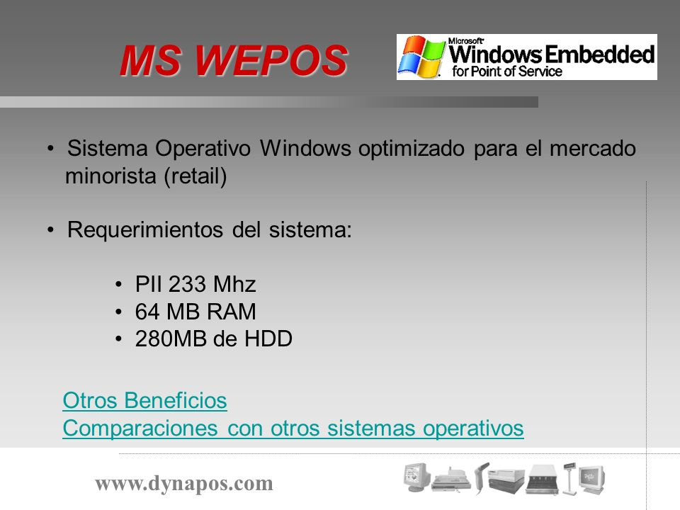 MS WEPOS Sistema Operativo Windows optimizado para el mercado