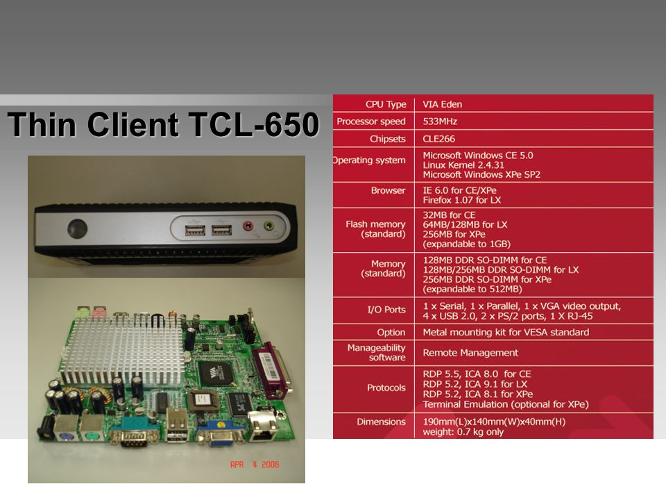 Thin Client TCL-650 Click on TK-735 picture to go back to Product Line