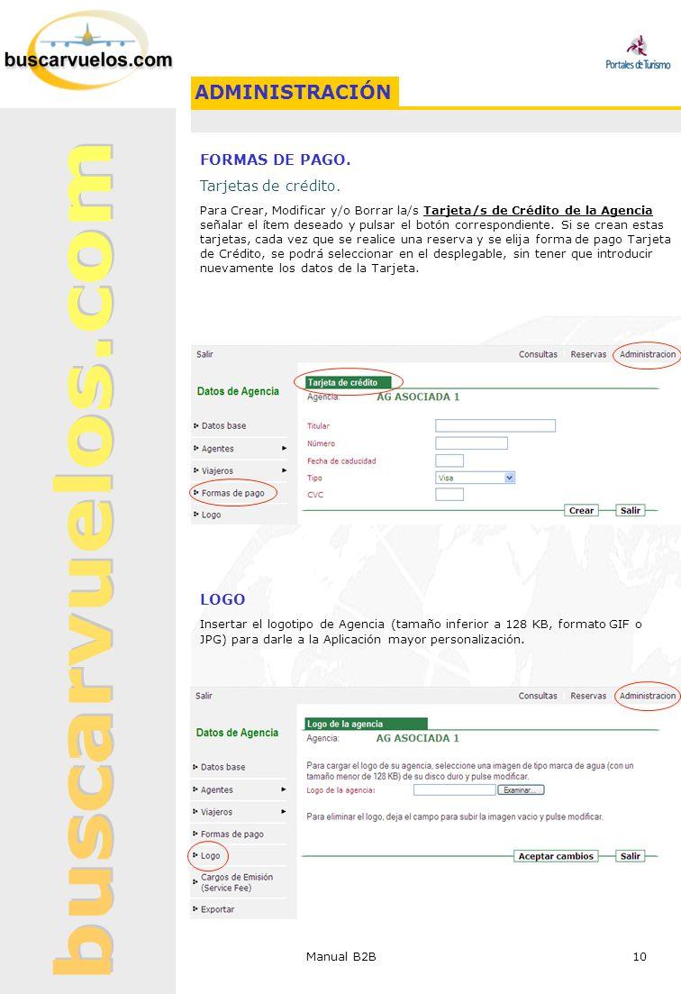 ADMINISTRACIÓN FORMAS DE PAGO. Tarjetas de crédito. LOGO