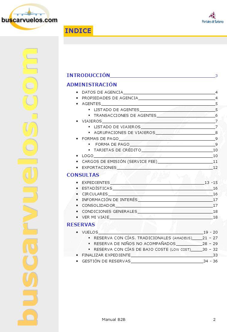 INDICE INTRODUCCIÓN 3 ADMINISTRACIÓN CONSULTAS RESERVAS