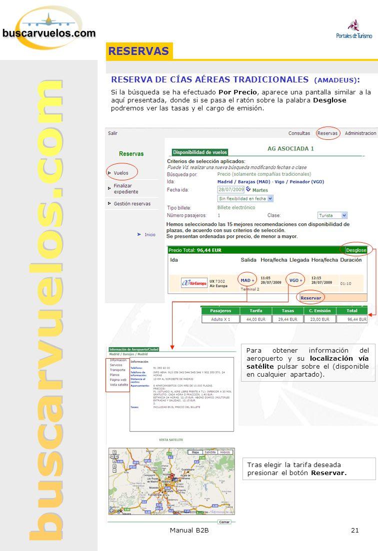 RESERVAS RESERVA DE CÍAS AÉREAS TRADICIONALES (AMADEUS):