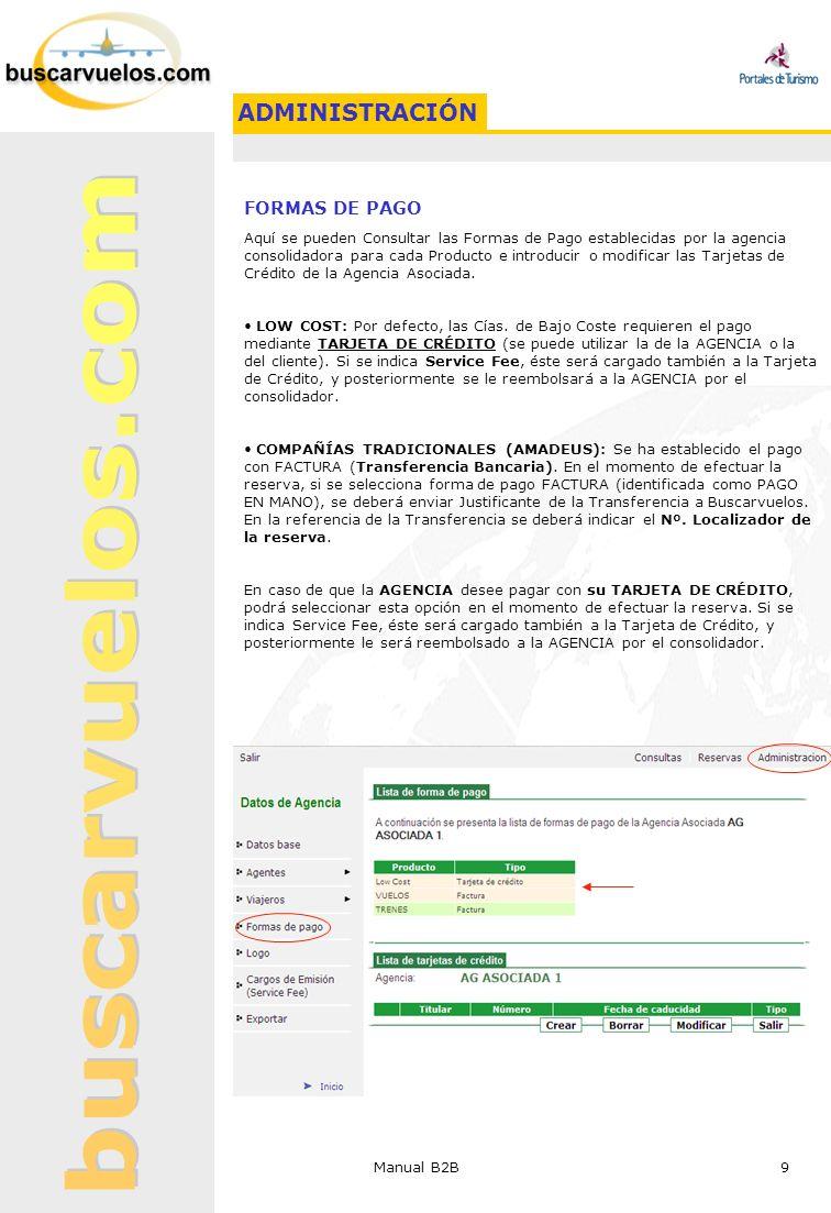 ADMINISTRACIÓN FORMAS DE PAGO