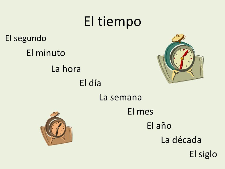 El tiempo El minuto La hora El día La semana El mes El año La década