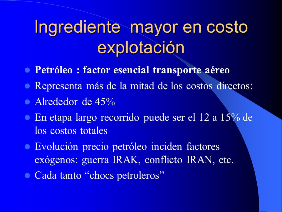 Ingrediente mayor en costo explotación
