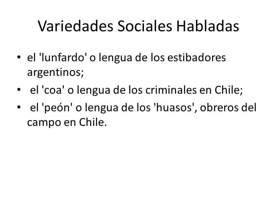 Variedades Sociales Habladas