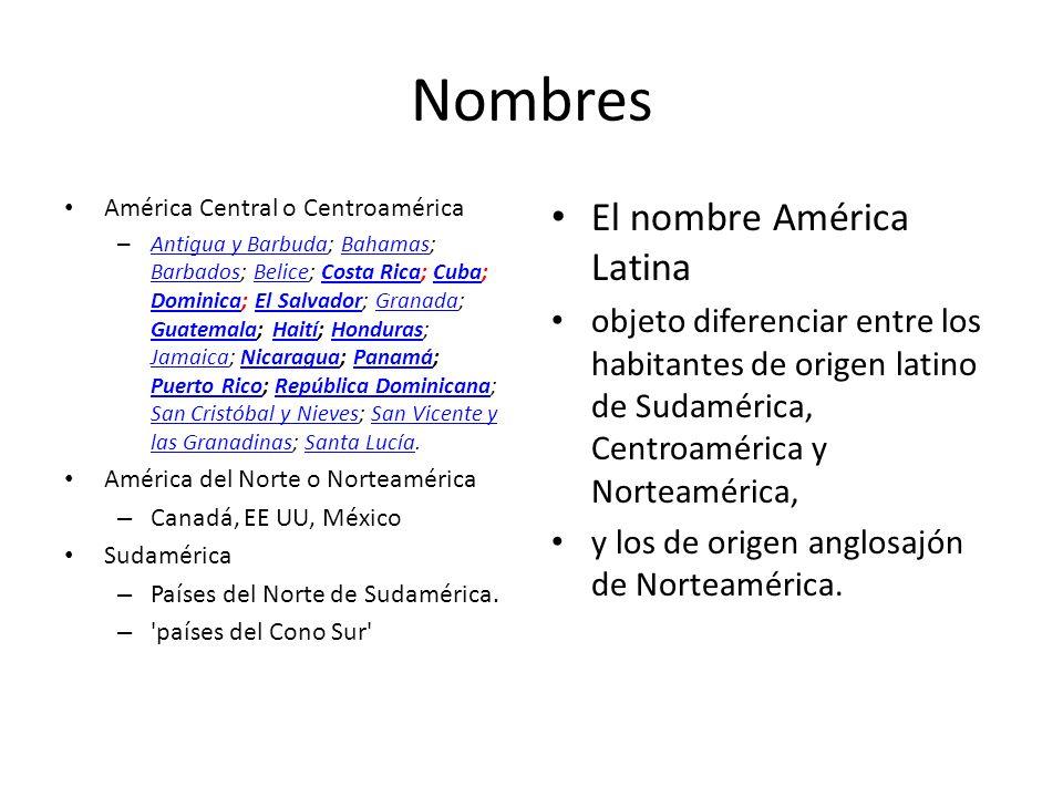 Nombres El nombre América Latina