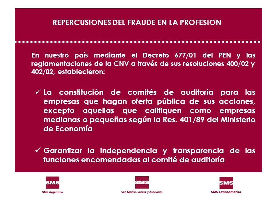 REPERCUSIONES DEL FRAUDE EN LA PROFESION