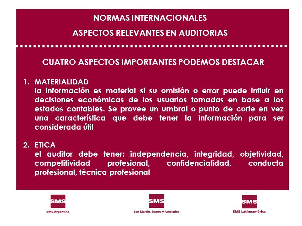 NORMAS INTERNACIONALES ASPECTOS RELEVANTES EN AUDITORIAS