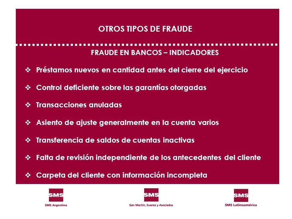FRAUDE EN BANCOS – INDICADORES