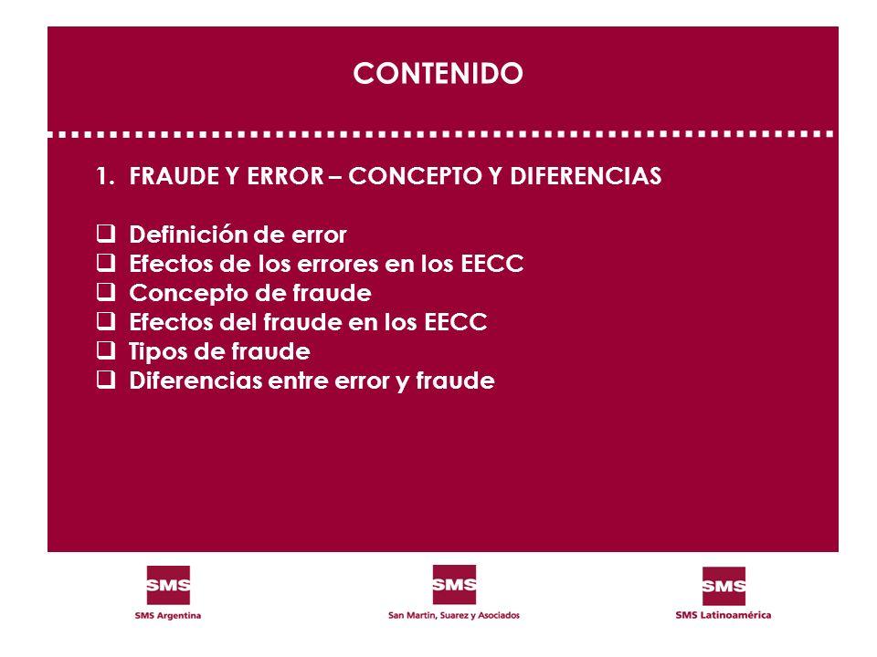 CONTENIDO 1. FRAUDE Y ERROR – CONCEPTO Y DIFERENCIAS