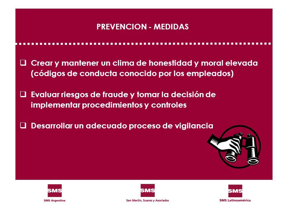 PREVENCION - MEDIDAS Crear y mantener un clima de honestidad y moral elevada. (códigos de conducta conocido por los empleados)