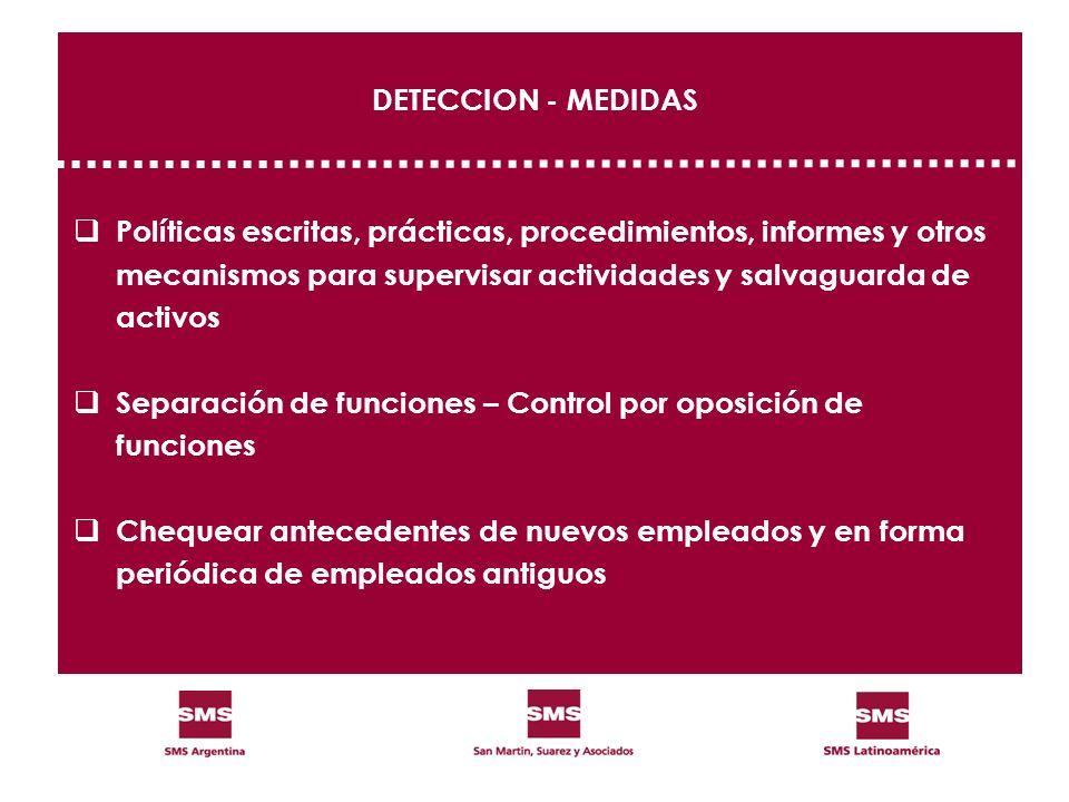 DETECCION - MEDIDAS Políticas escritas, prácticas, procedimientos, informes y otros. mecanismos para supervisar actividades y salvaguarda de.